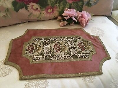 Antique French Pink Velvet Table Runner Floral Tapestry Metalwork Trim N22