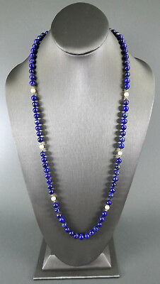 Fine Old Chinese Lapis Lazuli & 14K Gold Necklace Beads Beaded Jewelry