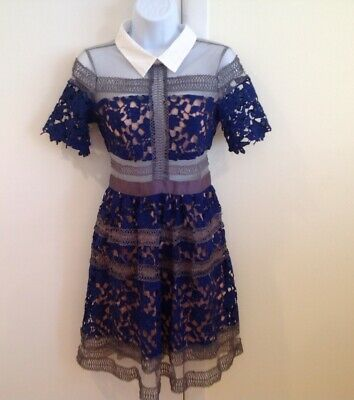 Blue Lace Baby Doll Dress Embroidered Nude Illusion A-Line Fit & Flare-Small