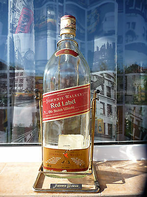 Johnnie Walker large bottle 4.5 liter Red Label swing cradle empty used rare VTG