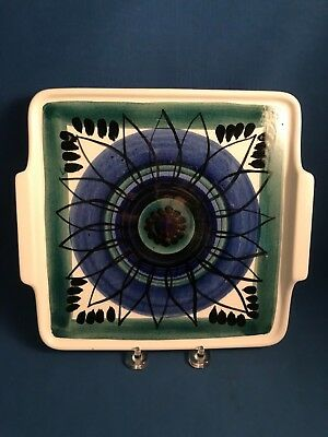 """Mid Century Modern Arabia Finland 9"""" Square Pottery Twin Handled Tray Signed SAG"""