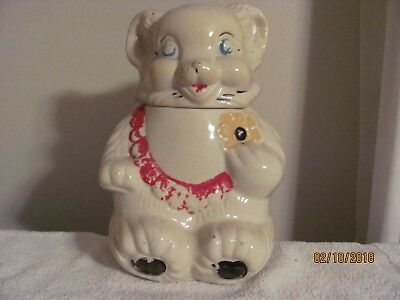 "Cookie Jar  Rare Vintage 1940's  Royal Ware   ""Teddy Bear""  Holding a Cookie"