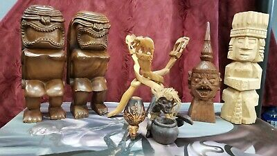 Wooden artwork bookends stands Aztec African Chinese - Selling Individually