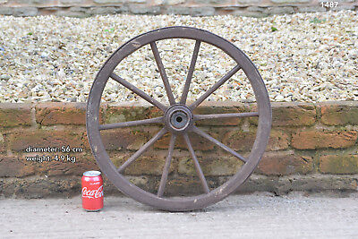Vintage old wooden cart wagon wheel  / 56 cm - FREE DELIVERY