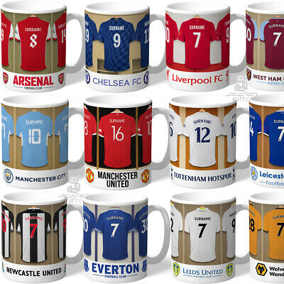 Personalised Football Mugs. Official Merchandise. Fan Birthday Gifts. Any Name