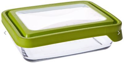 Anchor Hocking 6-Cup Rectangular Food Storage Containers with Green TrueSeal U10