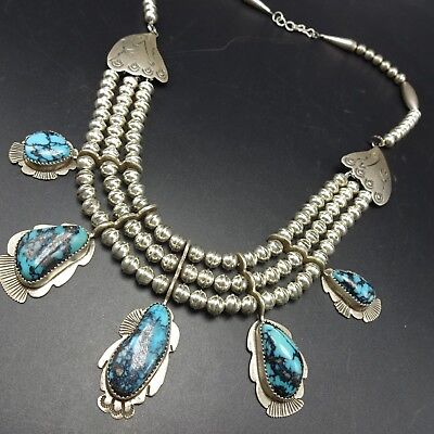 GORGEOUS Vintage NAVAJO Sterling Silver BISBEE TURQUOISE NECKLACE Triple Strand