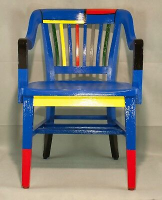 Antique Vintage Painted Oak Lawyer Banker Desk Office chair Mondrian Style Paint