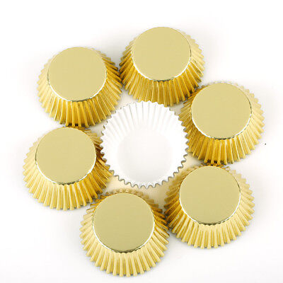 100x Golden Cupcake Liners Aluminum Thickened Muffin Case Cake Paper Baking Cups