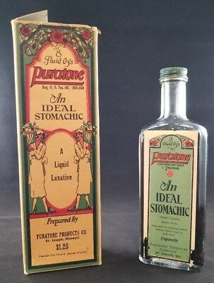 Vintage Puratone An Ideal Stomachic A Liquid Laxative Bottle- Full