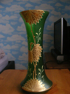 Victorian, 19th century Art Nouveau Glass Vase. Richly decorated with gold