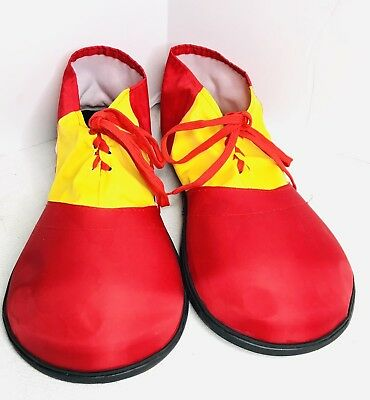 RED Yellow PLASTIC JUMBO CLOWN SHOES ONE SIZE ADULT COSTUME ACCESSORY CIRCUS