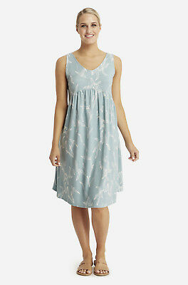 Bamboo Body Tilly Smock Dress Eucalyptus Print Blue White Size Medium (12) M