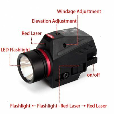 Pistol Light and Red Laser Sight Combo White Light 150 Lumens fit Picatinny Rail