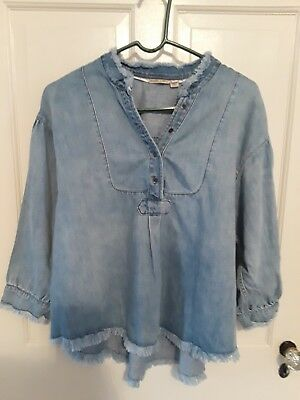 ce932a096f0 Anthropologie Holding Horses Blue Chambray 3/4 Sleeve Shirt Top Womens  Fringe M