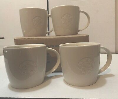 Set Of 4 Starbucks 12 Oz White Coffee Mug W/ Siren For Here ~ Brand New In Box