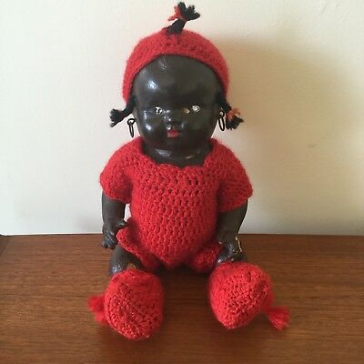 Antique Black Baby Tops Doll In Red Crotchet Outfit