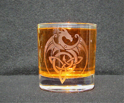 Tribal Dragon Etched Whisky New glass, Personalised, birthday, wedding, Gifts.