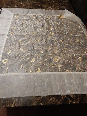 """Vintage Embroidered Card Table Tablecloth 42"""" x 42""""  Gold Embroidery and Tassles"""