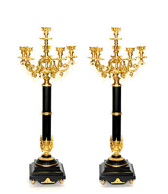 Pair of 6 Light Empire Marble Stand Bronze Candelabra
