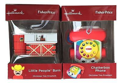 Hallmark 2018 Little People Barn Chatterbox Phone Fisher-Price Red Box Ornaments