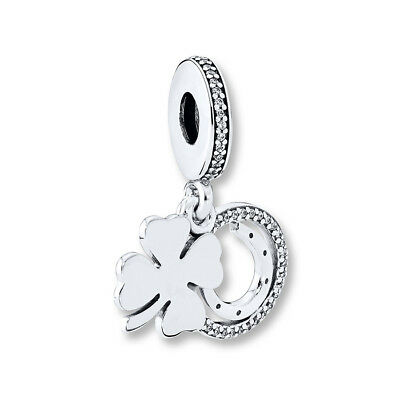 New Authentic PANDORA Silver S925 ALE Lucky Day Dangle Charm, Clear CZ #792089CZ