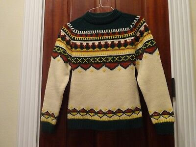 vintage KENTFIELD size L thick knit acrylic sweater - green, ivory, rust, yellow