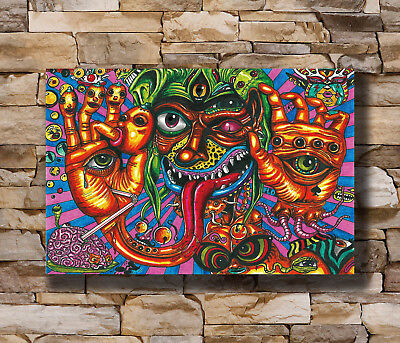 N-051 Psychedelic Trippy Abstract Art Fish Ocean Silk Poster 12x18 24x36 27x40