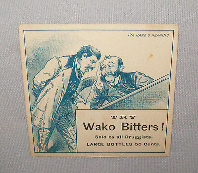 Old Antique Vtg Ca late 1800's Wako Bitters Advertising Trade Card Very Nice
