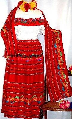 Mexican Red Maxi Dress 3 pc Multicolor Floral Embroidery Blouse/Skirt/Shawl 2XL