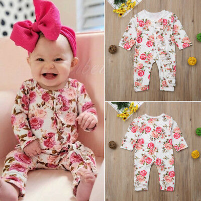 Newborn Infant Baby Girl Floral Romper Ruffle Jumpsuit Bodysuit Playsuit Outfits