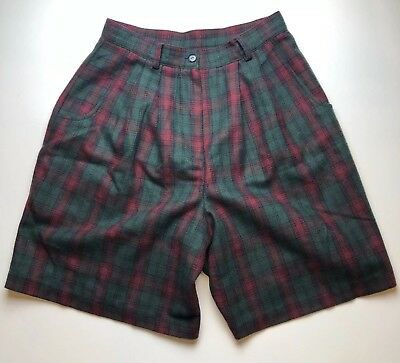 1980s Vintage Savannah Pleated High Waist Wool Blend Shorts Pink Green Plaid 14