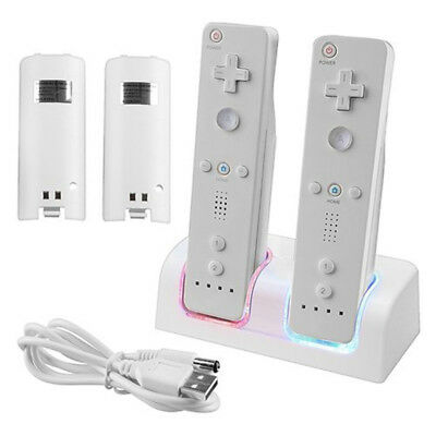 For Nintendo Wii Controller Dual Charger Dock + 2 Rechargeable Battery UK