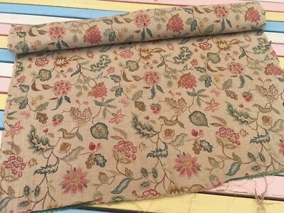 Vintage Antique Victorian Pure Linen Furnishing Fabric 71x205cm Botanical Print