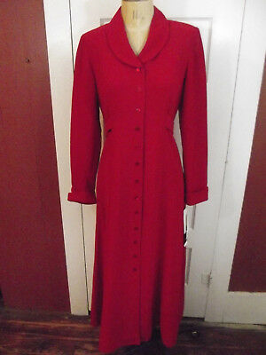 VTG NWT  Leslie Fay Coat Dress Princess Style Red Tea Dress Size 6 Petite 1990s
