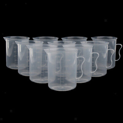 Clear Lab Graduated Beaker Measuring Cups Jugs with Handle 250ml / 500ml
