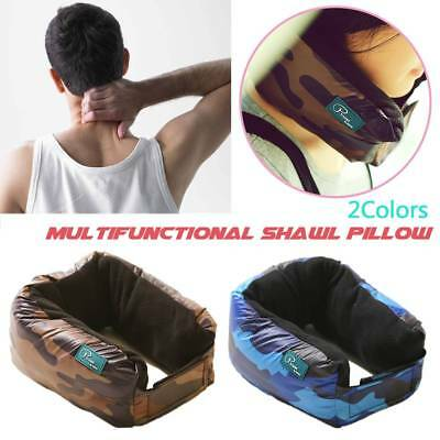 U Shaped Travel Pillow Neck Support Head Rest Airplane Cushion Shawl Scarf 3in1