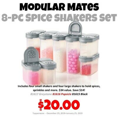 Tupperware Modular Mates 8pc Spice Shaker Set Grey Seal