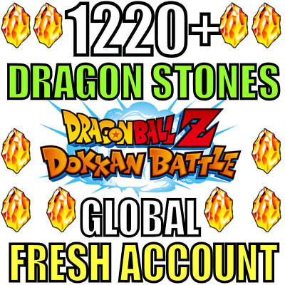 Dokkan Battle FRESH Global Account 1220+ Dragon Stones