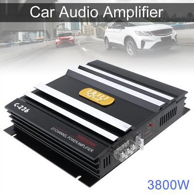 Class AB 2CH 3800W Car Audio Stereo Amplifiers Power Subwoofer Speaker DC12V