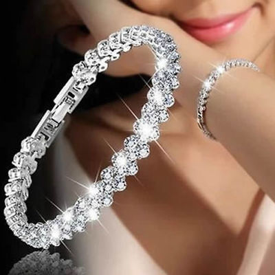 Women Crystal Rhinestone Bracelet Bangle Wedding Bridal Wristband Jewelry