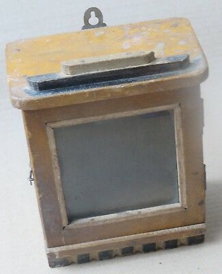 ANTIQUE WOOD CABINET GLASS DOOR MINI DISPLAY SHOWCASE Old TABLE WATCH BOX