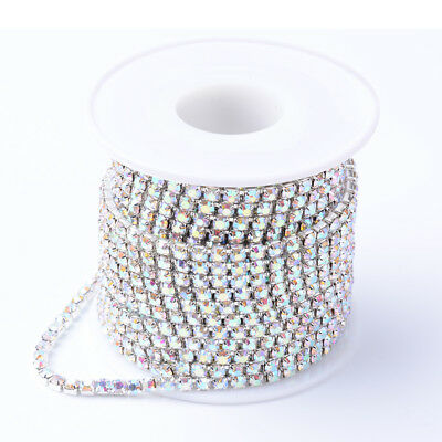 10Yards Brass Rhinestone Strass Cup Chains For DIY Sewing Craft Making Unplated