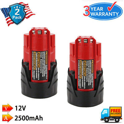 2x 12V Replace for Milwaukee 48-11-2401 48-11-2420 M12 48-11-2410 Li-Ion Battery