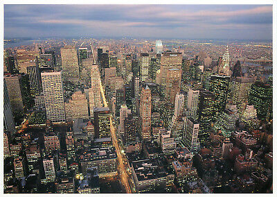 New York mid town aerial view at dusk Pre 9/11 2001 World Trade Center Postcard