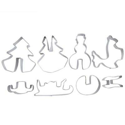 8Pcs 3D Christmas Scenario Cookie Cutter Set Cake Biscuit Mould Stainless Steel