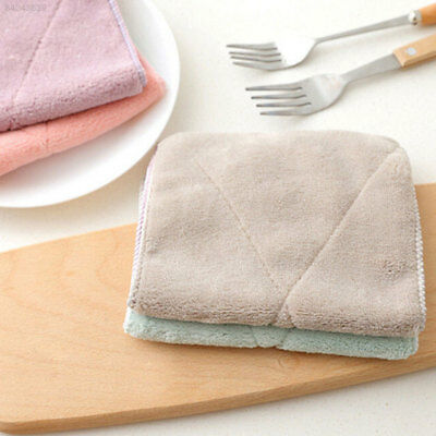 E8EA Useful Rectangle Double-Sided Towel Dishcloth Cleaner Cloth Colorful