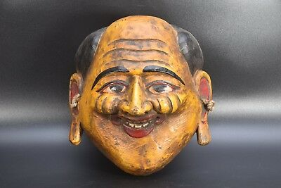 Yellow Laughing Wooden Old Tibetan Vintage wall Hanging Home Decor Mask