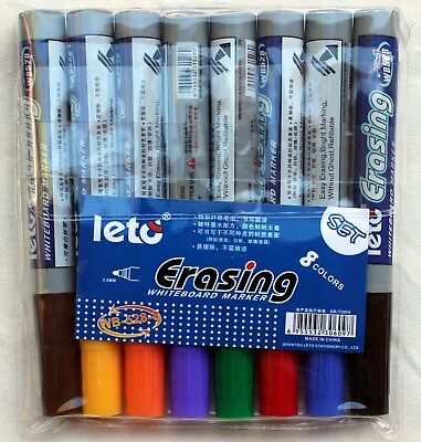 8 Colour Set Whiteboard Marker Non Toxic Easy Erasing, Bright Marking, New