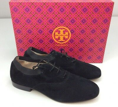 931b27787ce5 TORY BURCH BOMBE Oxford Black Suede Size 6.5 M Lace Up Women s ...